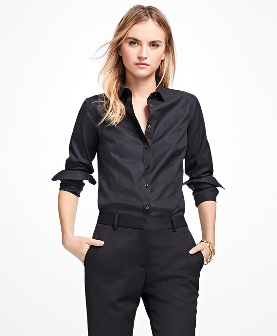Non-Iron Tailored-Fit Dress Shirt Black