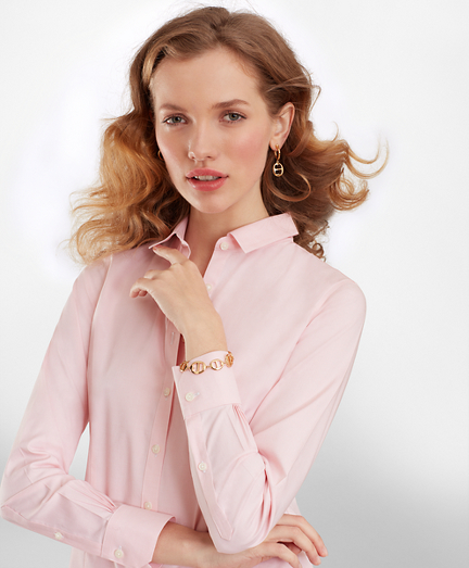 Women 39 s blouses tunics tops and shirts brooks brothers for Women s broadcloth shirts