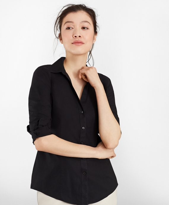Non-Iron Fitted Dress Shirt Black