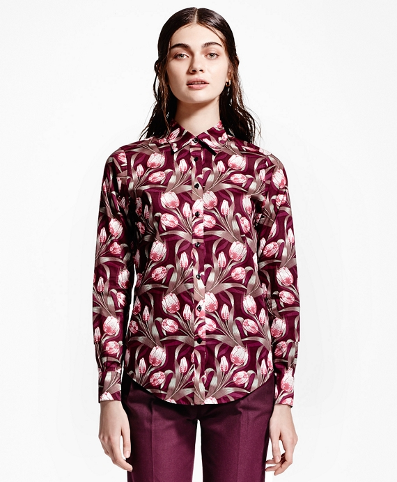 Tulip-Print Shirt Wine