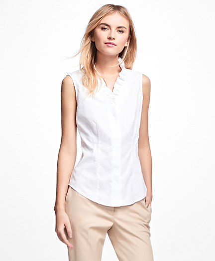 Non-Iron Sleeveless Ruffled Blouse
