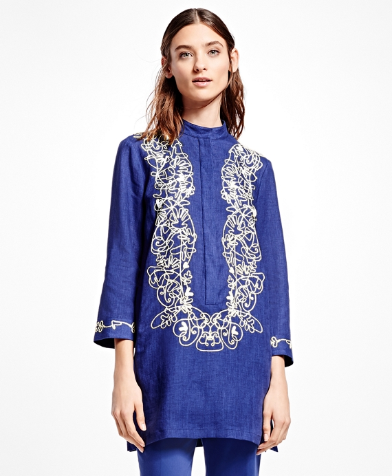 Embroidered Linen Tunic Navy