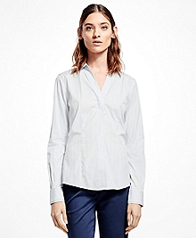 Fitted Cotton Jacquard Elongated-Neckline Shirt