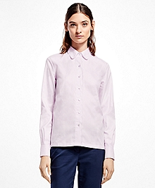 Scallop-Edge Cotton Dobby Shirt