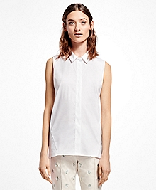Sleeveless Cotton-Blend Shirt