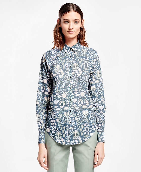 Botanical-Print Cotton Poplin Shirt Grey