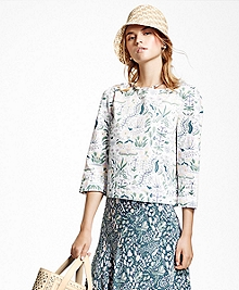 Cropped Cotton Sateen Print Shirt