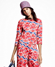 Cropped Floral-Print Cotton Sateen Top