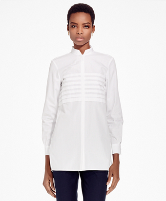 Pleated Cotton Broadcloth Tunic