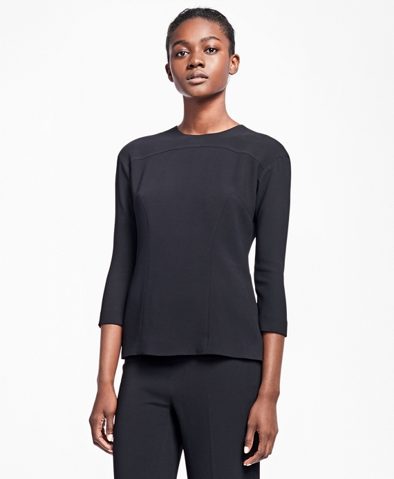 Three-Quarter Stretch-Crepe Blouse Black
