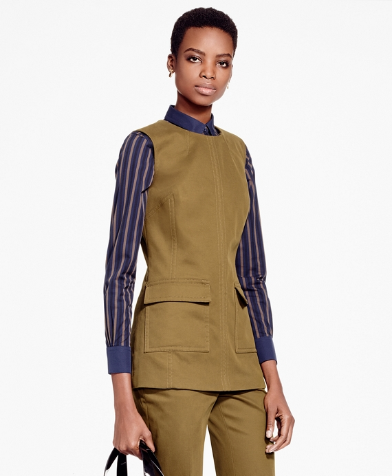 Sleeveless Brushed-Twill Stretch Tunic Army Green
