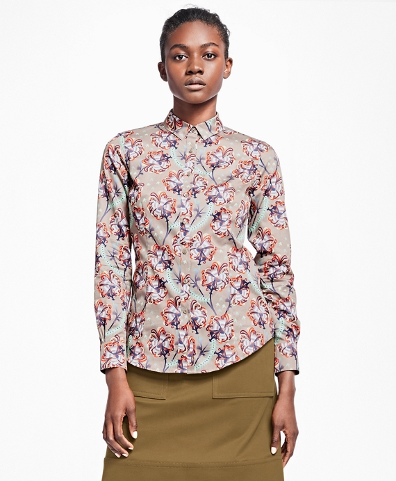 Tailored-Fit Floral Cotton Sateen Blouse Grey Multi