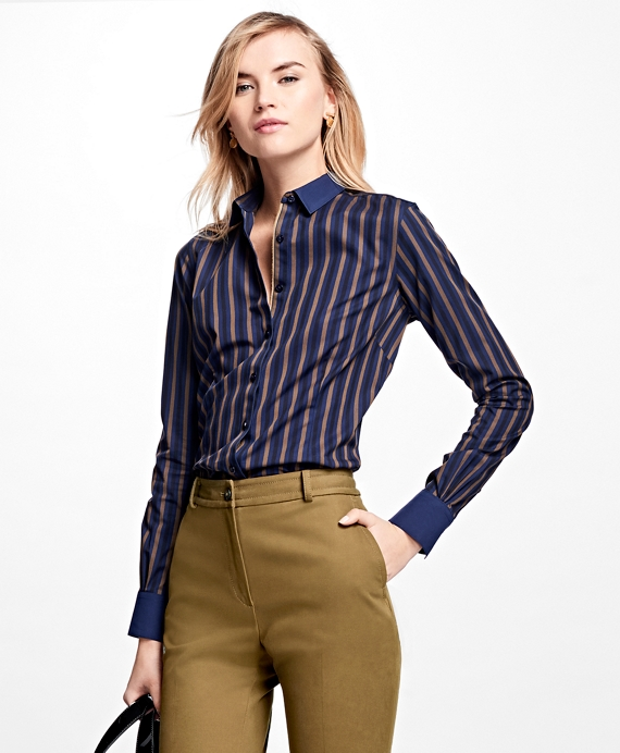 Tailored-Fit Striped Non-Iron Dress Shirt