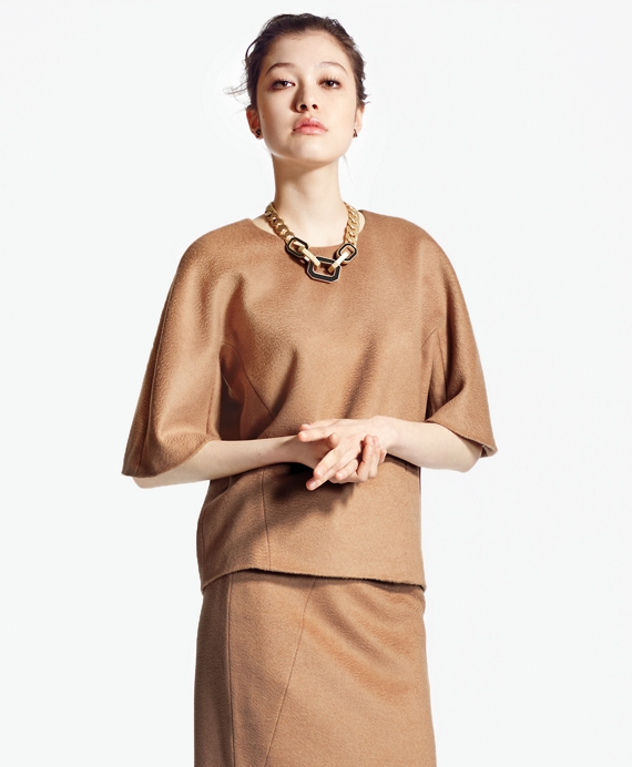 Loro Piana® Camel Hair Scoop-Neck Blouse Camel