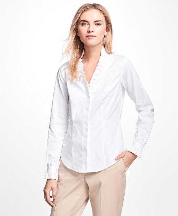 Non Iron Ruffle Pinpoint Oxford Dress Shirt Brooks Brothers