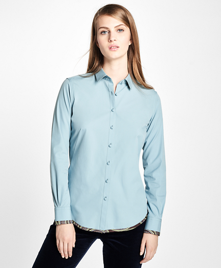 Fitted Medallion Hem Dress Shirt