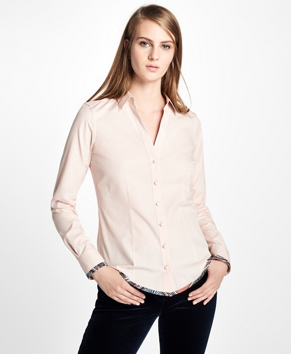 Fitted Medallion Hem Dress Shirt Light Pink