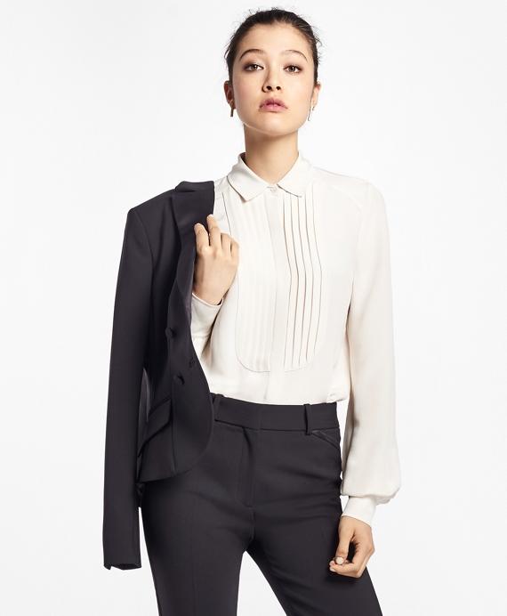 Silk Crepe Tuxedo Blouse