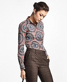 Tailored-Fit Medallion-Print Cotton Poplin Dress Shirt