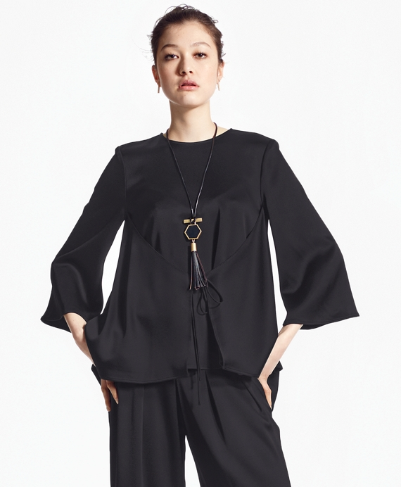 Three-Quarter-Sleeve Crepe Blouse Black