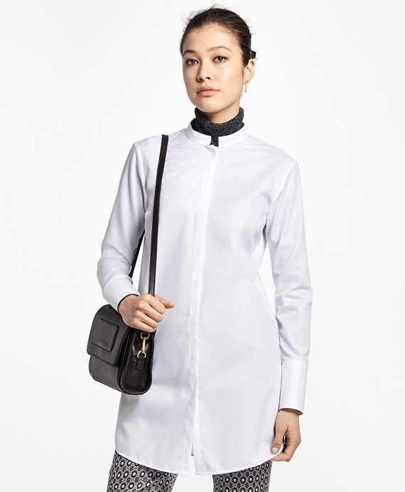 Cotton Dobby Stand-Collar Tunic White