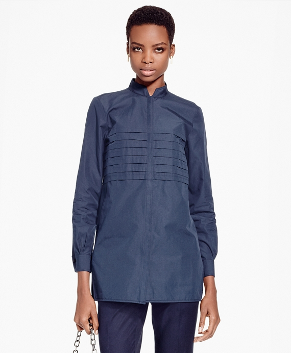 Pleated Cotton Broadcloth Tunic Navy