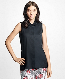 Sleeveless Cotton Sateen Blouse