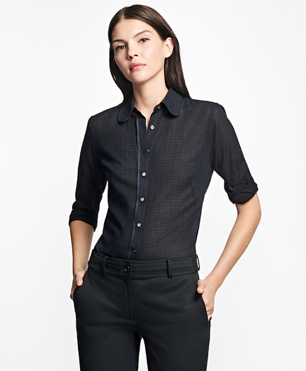 Fitted Silk-Trimmed Cotton Dobby Blouse