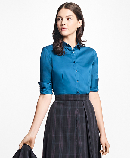 Tailored-Fit Stretch-Cotton Blouse