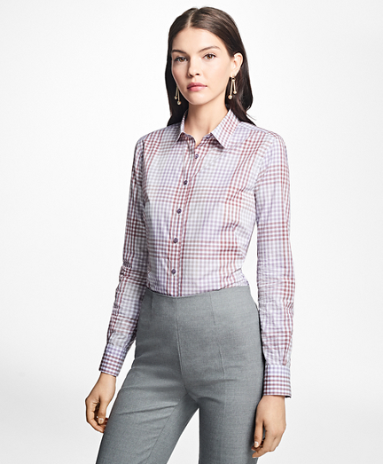 Fitted Cotton Poplin Mini-Gingham Blouse