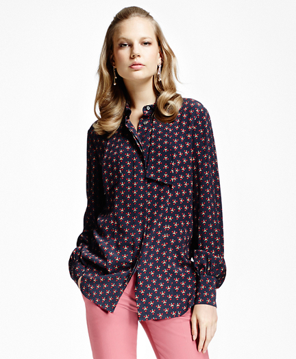 Printed Crepe Bow-Tie Blouse