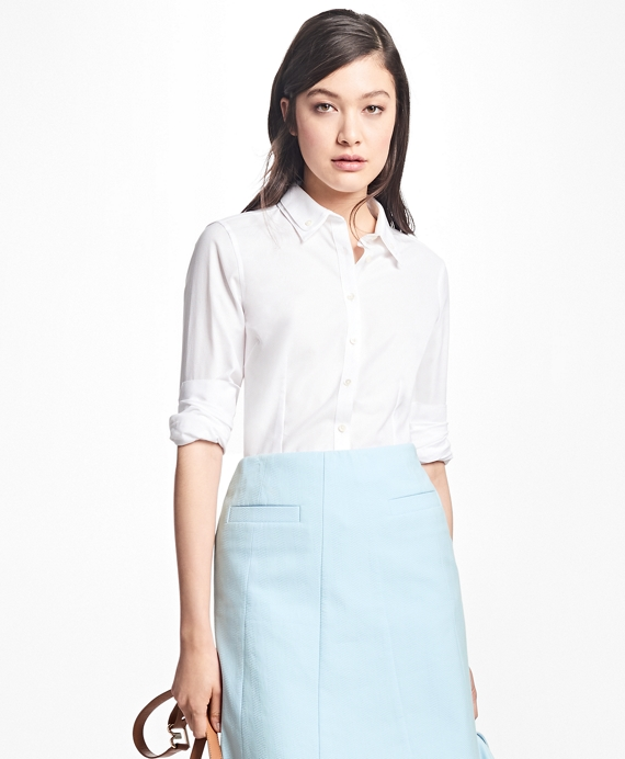 Tailored-Fit Cotton Double-Collar Shirt White