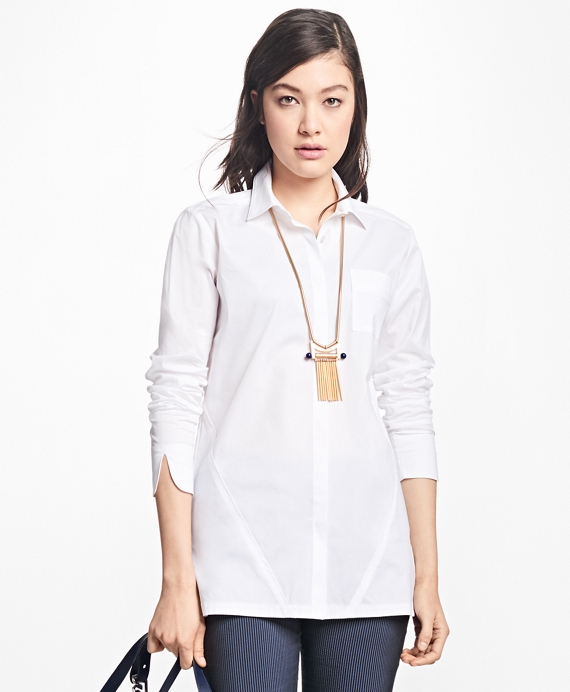 Stretch-Cotton Button-Front Tunic White