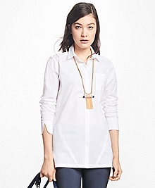 Stretch-Cotton Button-Front Tunic