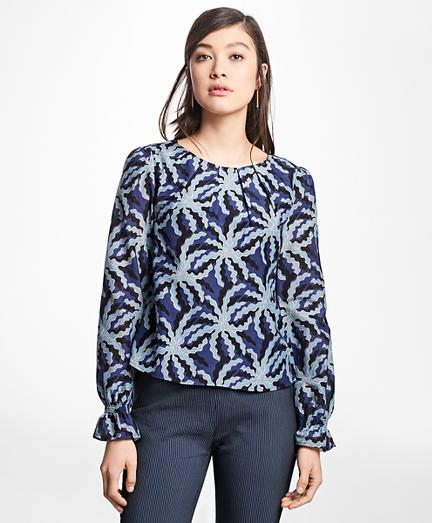 Palm Tree Print Cotton-Silk Blouse