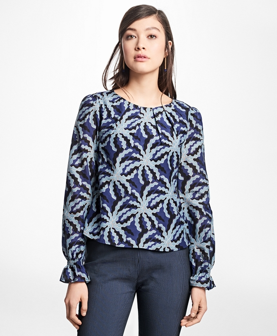 Palm Tree Print Cotton-Silk Blouse Blue