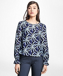 Palm Tree Print Cotton-Silk Blouse