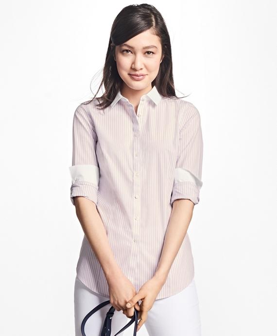 Tailored-Fit Stripe Stretch-Cotton Poplin Blouse Pink