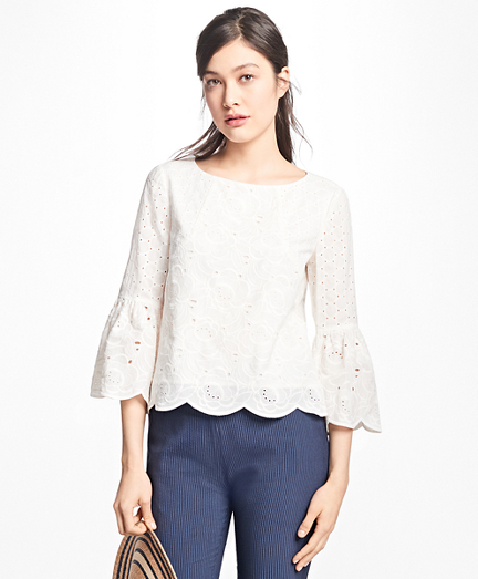 Bell-Sleeve Cotton Eyelet Blouse