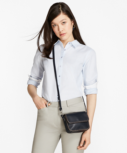 Honeycomb-Weave Cotton Fitted Shirt