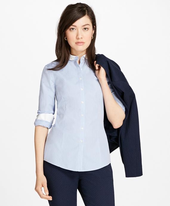 Non-Iron Dobby-Stripe Tailored Shirt Blue