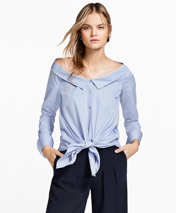 Off-the-Shoulder Striped Cotton Shirt Blue