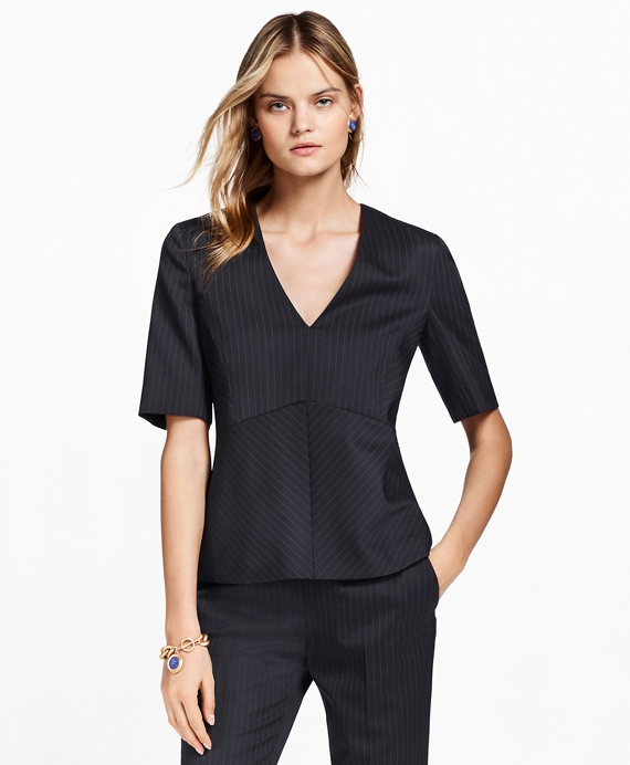 Pinstripe Stretch-Wool Peplum Top