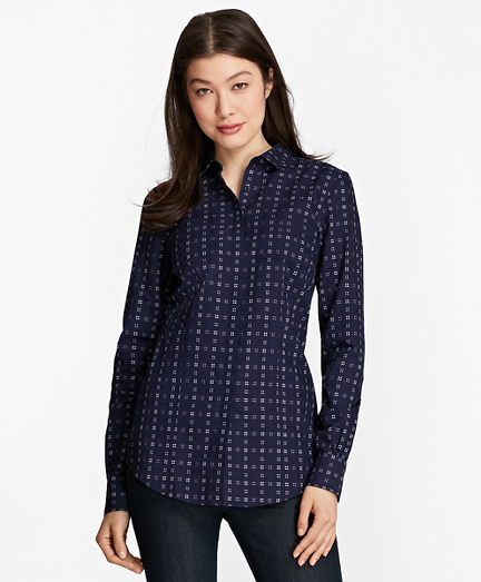 Non-Iron Tailored-Fit Checked Royal Oxford Shirt