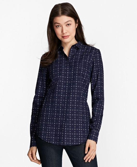 Non-Iron Tailored-Fit Checked Royal Oxford Shirt Blue