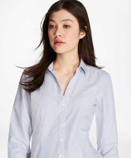 Non-Iron Striped Cotton Poplin Fitted Shirt