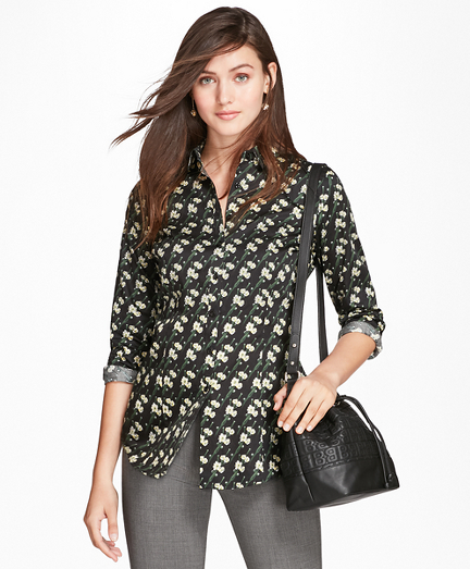 Tailored-Fit Snow Blossom-Print Cotton Sateen Shirt