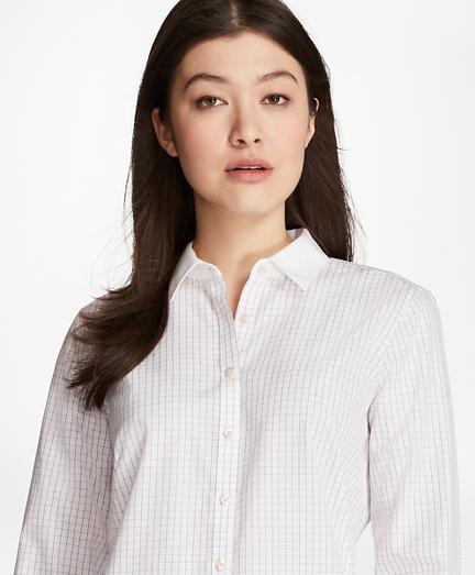Non-Iron Windowpane Cotton Dobby Fitted Shirt