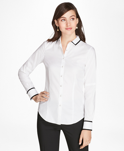 Tailored-Fit Grosgrain-Trimmed Striped Supima® Cotton Jacquard Shirt