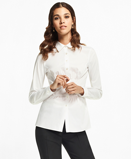 Stretch Cotton Peplum Shirt